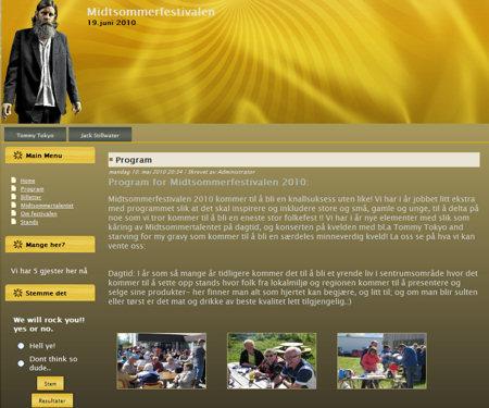Nettside for Midtsommerfestivalen 2010