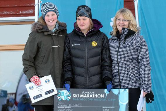 DE FRÄMSTA damerna på milen, Mathilda Andersson. Häggenås, flankerad av Anna Mari Darj, Fortum (tvåa) och Kajsa Fernström, ÖBS. Foto: THORD ERIC NILSSON