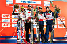 24.02.2013, Val di Fiemme, Italy (ITA): l-r: Jason Lamy Chappuis (FRA), Sebastien Lacroix (FRA), Francois Braud (FRA), Maxime Laheurte (FRA)- FIS nordic world ski championships, nordic combined, team HS106/4x5km, Val di Fiemme (ITA). www.nordicfocus.com.