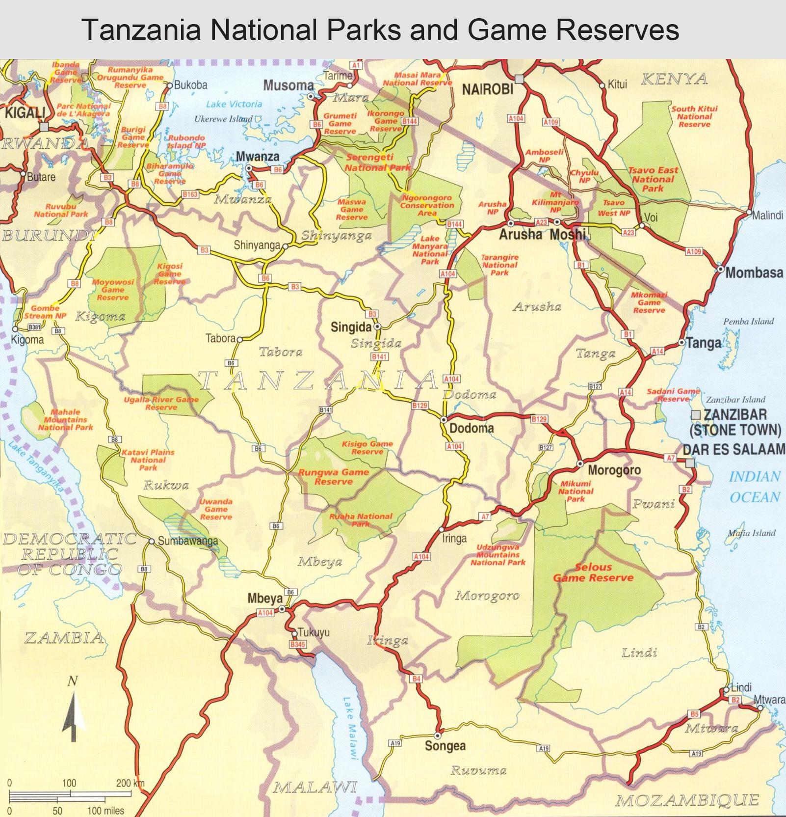 kart over tanzania 4 nasjonalparker i syd   9 dager   Reisejournalist kart over tanzania