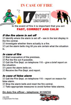 Branninstruks engelsk