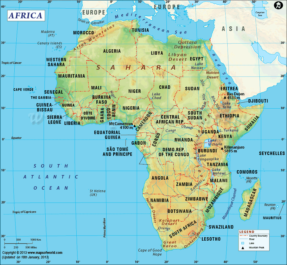 afrika land kart Kart over Afrika   Reisejournalist afrika land kart