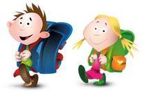 Barn med skolesekk
