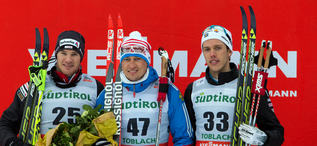 01.02.2014, Toblach, Italy (ITA): Dario Cologna (SUI), Alexander Legkov (RUS), Marcus Hellner (SWE)- FIS world cup cross-country, 15km men, Toblach (ITA). www.nordicfocus.com. © Manzoni/NordicFocus. Every downloaded picture is fee-liable.