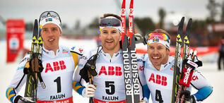 14.03.2014, Falun, Sweden (SWE): Calle Halfvarsson (SWE), Teodor Peterson (SWE), Emil Joensson (SWE), (l-r)- FIS world cup cross-country, individual sprint, Falun (SWE). www.nordicfocus.com. © Felgenhauer/NordicFocus. Every downloaded picture is fee-l