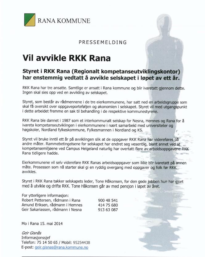 Vil avvikle RKK Rana Hemnes kommune