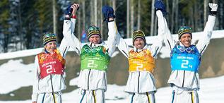 16.02.2014, Sochi, Russia (RUS): Lars Nelson (SWE), Daniel Richardsson (SWE), Johan Olsson (SWE), Marcus Hellner (SWE), (l-r)- XXII. Olympic Winter Games Sochi 2014, cross-country, 4x10km men, Sochi (RUS). www.nordicfocus.com. © NordicFocus. Every dow