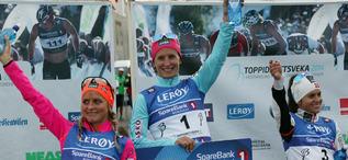 MARIT BJØRGEN krossade allt motstånd, inklusive tvåan Therese Johaug och Heidi Weng. Foto: IVAR TORSETH