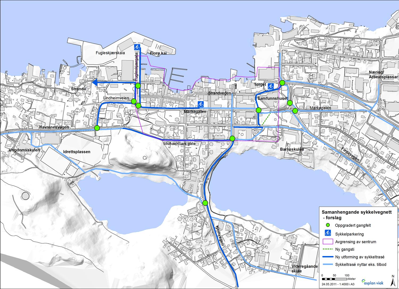 Eksisterande plan for sykkelvegnett i Florø sentrum - revisjon.png