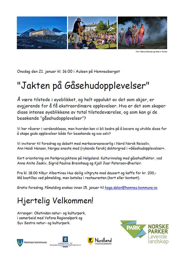 Foredrag om Jakten på Gåsehudopplevelser 21 01 2015 Hemnes kommune