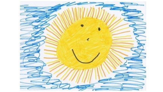 Barnetegning av en sol