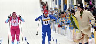140222 Oxberg-MoraTjejVasanSofia Bleckur vinner TjejVasan före Britta Norgren JohanssonFoto Nisse Schmidt