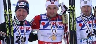Medaljtrion på 50 m Lucas Bauer, Petter Northug och Johan Olsson.