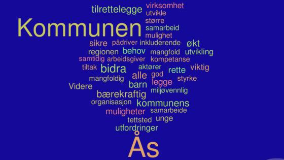 Ordsky med flest brukte ord i kommuneplanens samfunnsdel