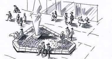 Tegnet skisse av skulpturens plassering i gågata