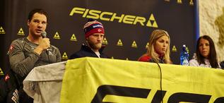 26.11.2015, Ruka, Finland (FIN): Fischer press conference, Dario Cologna (SUI), Martin Johnsrud Sundby (NOR), Therese Johaug (NOR), Charlotte Kalla (SWE), (l-r)  - FIS world cup cross-country, training, Ruka (FIN). www.nordicfocus.com. © Felgenhauer/N