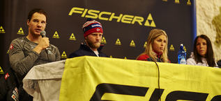 26.11.2015, Ruka, Finland (FIN): Fischer press conference, Dario Cologna (SUI), Martin Johnsrud Sundby (NOR), Therese Johaug (NOR), Charlotte Kalla (SWE), (l-r)  - FIS world cup cross-country, training, Ruka (FIN). www.nordicfocus.com. © Felgenhauer/N