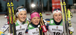 27.11.2015, Ruka, Finland (FIN):Stina Nilsson (SWE), Maiken Caspersen Falla (NOR), Ragnhild Haga (NOR), (l-r) - FIS world cup cross-country, individual sprint, Ruka (FIN). www.nordicfocus.com. © Modica/NordicFocus. Every downloaded picture is fee-liab