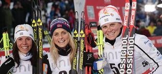 28.11.2015, Ruka, Finland (FIN):Charlotte Kalla (SWE), Therese Johaug (NOR), Ida Ingemarsdotter (SWE), (l-r) - FIS world cup cross-country, 5km women, Ruka (FIN). www.nordicfocus.com. © Modica/NordicFocus. Every downloaded picture is fee-liable.