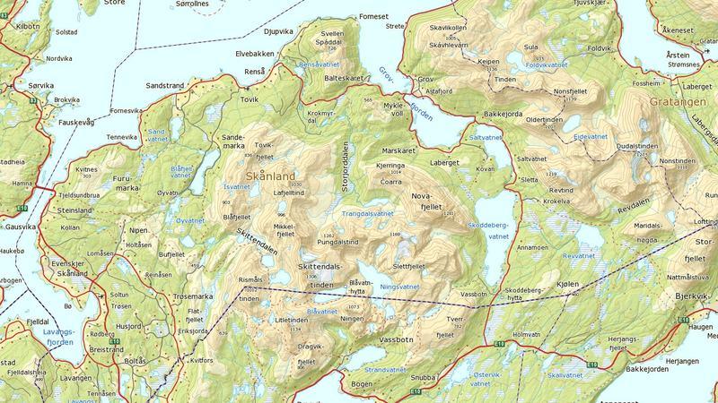 Kart over Skånland