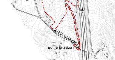 Varsel om oppstart av reguleringsplanarbeid Kvestad gård utsnitt av kart