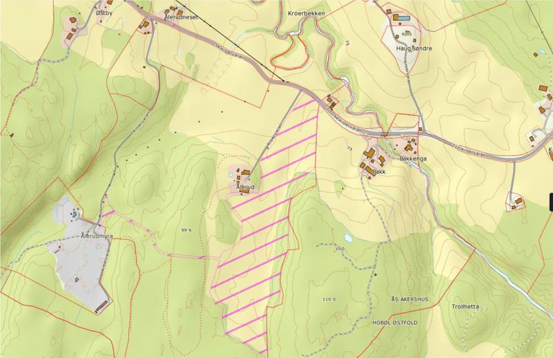 Offentlig ettersyn Aalerud gård illustasjon med kart