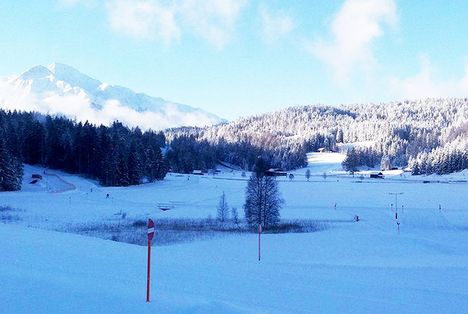 ETT VINTRIGT SEEFELD väntar på deltagarna i det andra Kaiser Maxilian Lauf kommande helg. Foto: ARRANGÖREN