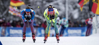 11.01.2017, Ruhpolding, Germany (GER):Alexey Volkov (RUS), Torstein Stenersen (SWE), (l-r), (l-r) -  IBU world cup biathlon, relay men, Ruhpolding (GER). www.nordicfocus.com. © Manzoni/NordicFocus. Every downloaded picture is fee-liable.