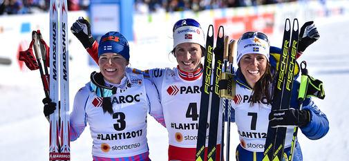 25.02.2017, Lahti, Finland (FIN):Krista Parmakoski (FIN), Marit Bjoergen (NOR), Charlotte Kalla (SWE) - FIS nordic world ski championships, cross-country, skiathlon women, Lahti (FIN). www.nordicfocus.com. © Thibaut/NordicFocus. Every downloaded picture
