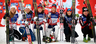 22.02.2015, Falun, Sweden (SWE): Stina Nilsson (SWE), Ida Ingemarsdotter (SWE), Maiken Caspersen Falla (NOR), Ingvild Flugstad Oestberg (NOR), Sylwia Jaskowiec (POL), Justyna Kowalczyk (POL), (l-r)- FIS nordic world ski championships, cross-country, team