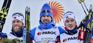 25.02.2017, Lahti, Finland (FIN):Martin Johnsrud Sundby (NOR), Sergey Ustiugov (RUS), Finn Haagen Krogh (NOR), (l-r) - FIS nordic world ski championships, cross-country, skiathlon men, Lahti (FIN). www.nordicfocus.com. © Thibaut/NordicFocus. Every downl