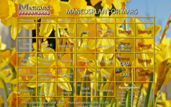 Månedsplan Mars2017 Midtgard illustrasjonsfoto