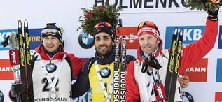 19.03.2017, Oslo, Norway (NOR):Andrejs Rastorgujevs (LAT), Martin Fourcade (FRA), Simon Eder (AUT), (l-r) -  IBU world cup biathlon, mass men, Oslo (NOR). www.nordicfocus.com. © Manzoni/NordicFocus. Every downloaded picture is fee-liable.