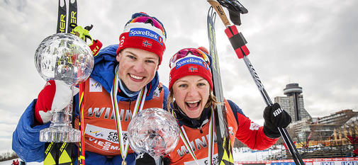 17.03.2017, Quebec, Canada (CAN):Johannes Hoesflot Klaebo (NOR), Maiken Caspersen Falla (NOR), (l-r)  - FIS world cup cross-country, cups, Quebec (CAN). www.nordicfocus.com. © Modica/NordicFocus. Every downloaded picture is fee-liable.
