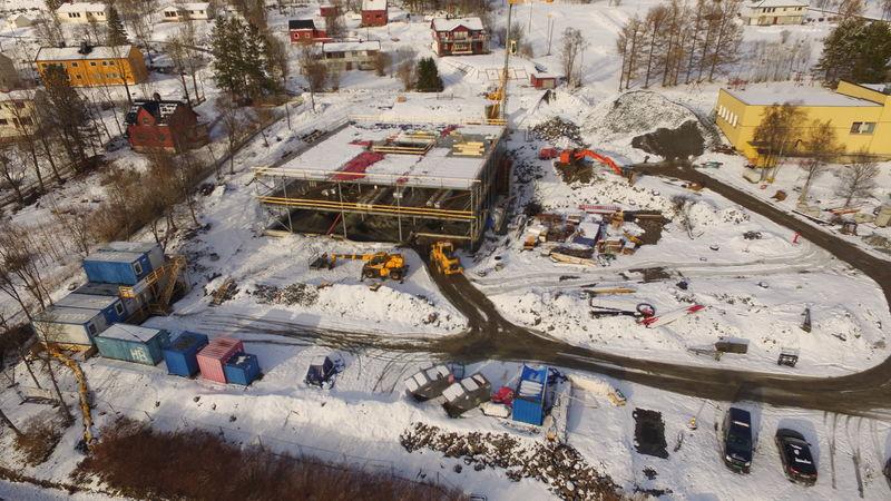 Dronebilde byggearbeid