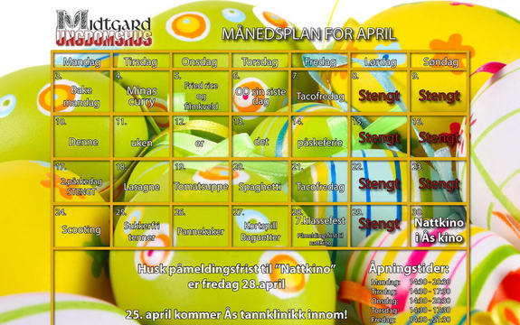 Månedsplan april 2017 Midtgard