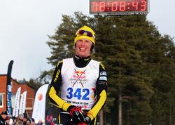 ERIK WICKSTRÖM tycker att dom 22 milen i Jokkmokk var hårdare än dom 43 milen han körde då han satte världsrekord på 24-timmar förra året. Mest på grund av kuperingen och vinden. Foto/rights: MARCELA HAVLOVA/sweski.com