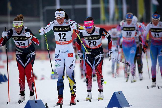 CHARLOTTE KALLA fortsätter på egen hand utanför landslaget också mot OS-säsongen 2017/2018. Här från världscupen i Falun i vinter. Foto/rights: MARCELA HAVLOVA/sweski.com