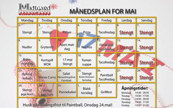 Månedsplan mai 2017 Midtgard