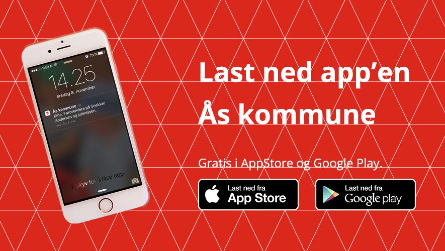 Illustrasjonsbilde Ås kommunes App / pushvarsler