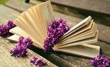 En åpen bok med en blomst liggende mellom sidene