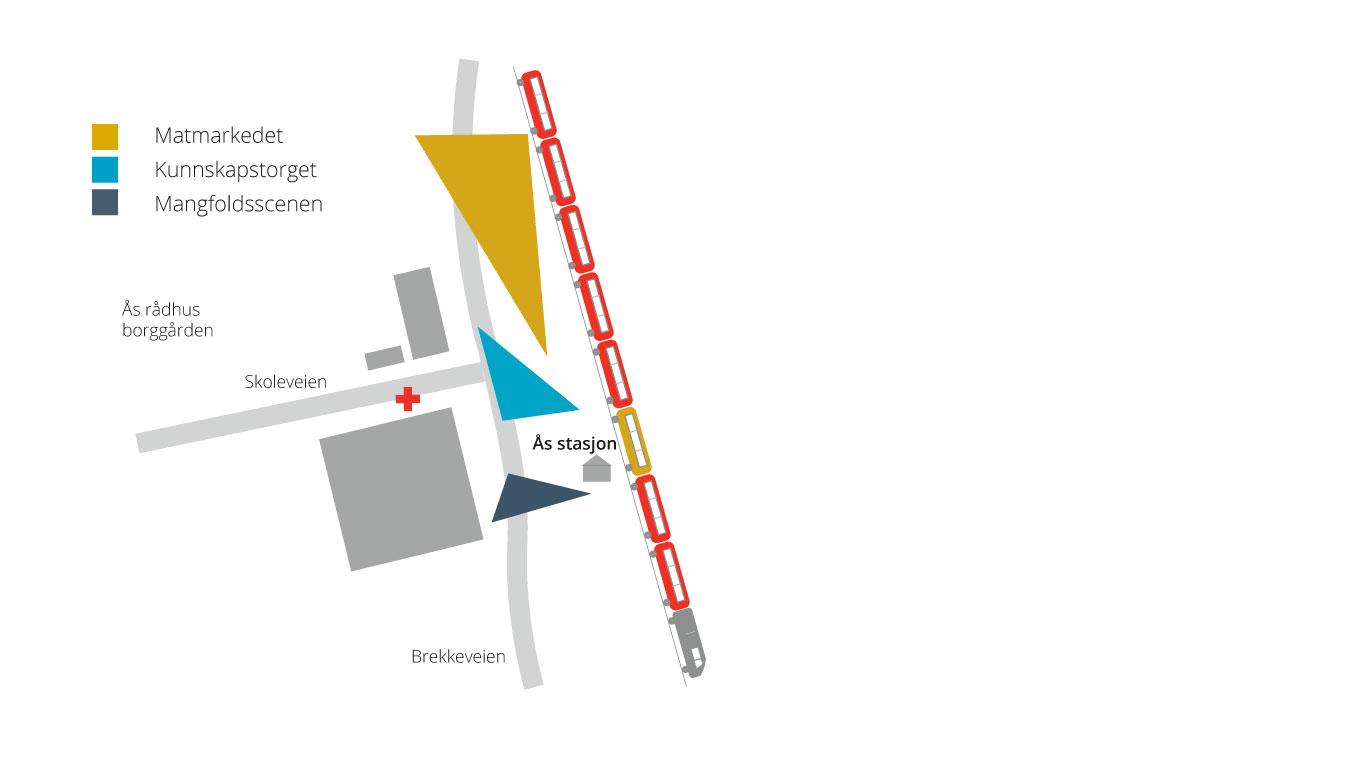 Kart over sentrumsområdet torsdag 17. august, sommertog og folkefest