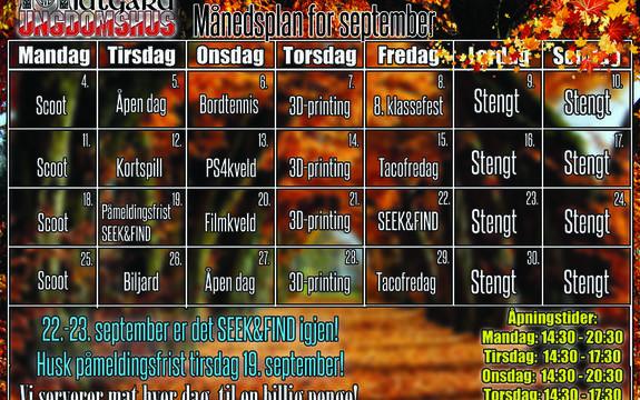 Månedsplan september Midtgard