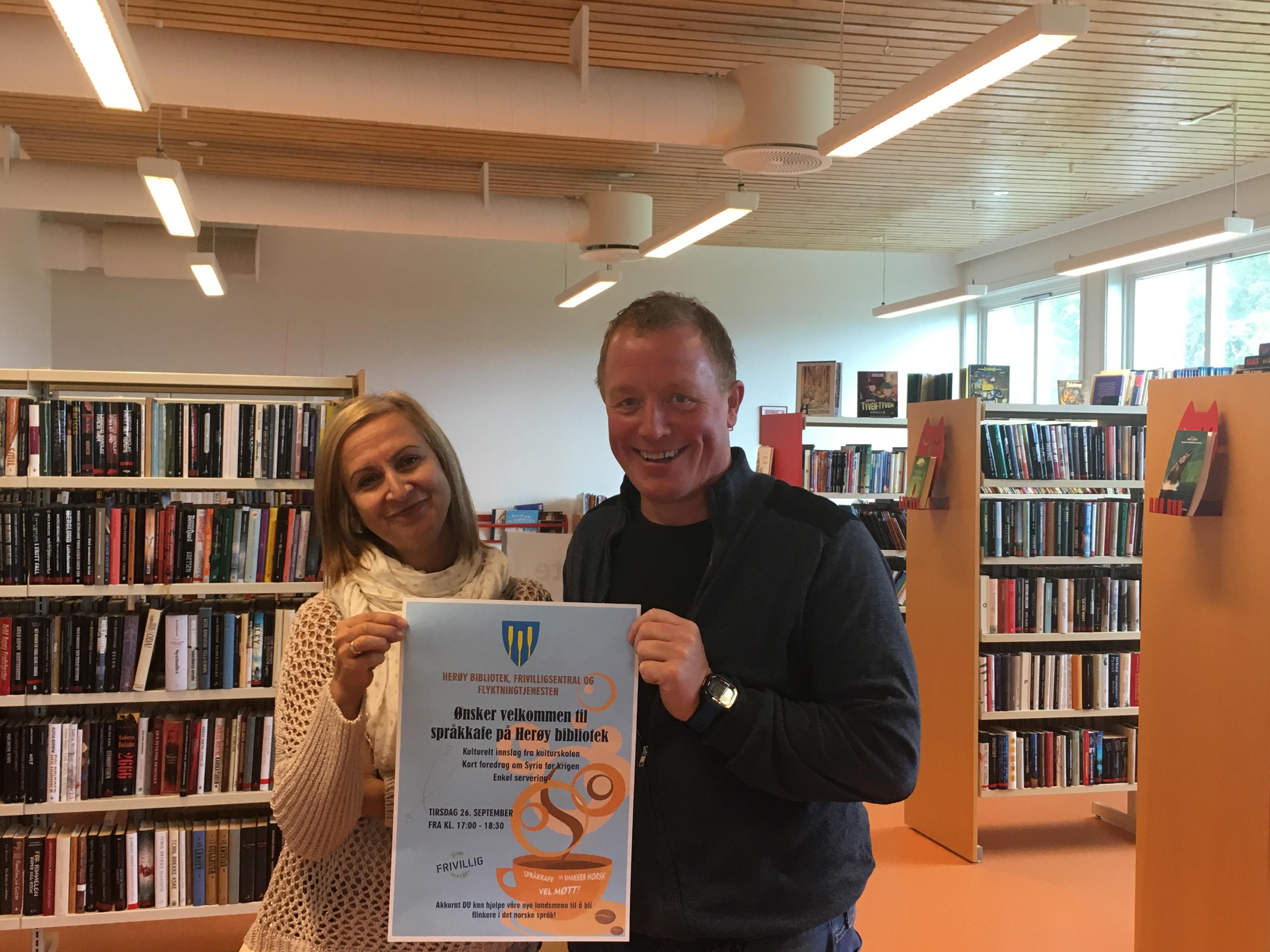 Språkkafe på biblioteket_Jelena og Roar