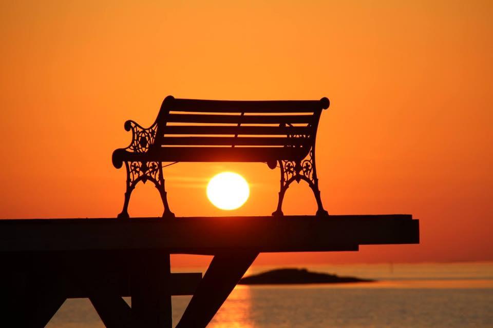 Benk i solskinn