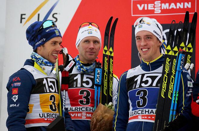 MICHELIN blir ny sponsor för Marcus Hellner, Daniel Richardsson, Calle Halfvarsson och dom andra i svenska längdlandslaget. Här från världscupstafetten i Ulricehamn i vintras. Foto/rights: MARCELA HAVLOVA/KEK-photo