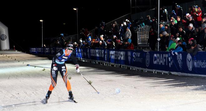 MAJA DAHLQVIST, Falun-Borlänge i mål som segrare i prologen på supersprinten i Östersund. Foto: THORD ERIC NILSSON