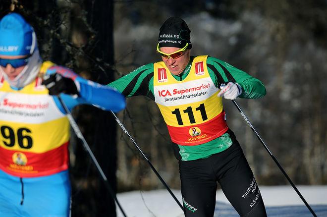 AXEL AFLODAL, Sundbyberg trivs i Bruksvallarna. Nu vann han herrjuniorernas sprinttävling. Foto/rights: KJELL-ERIK KRISTIANSEN/sweski.com