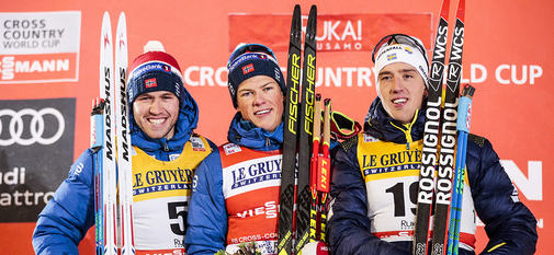 24.11.2017, Ruka, Finland (FIN):Paal Golberg (NOR), Johannes Hoesflot Klaebo (NOR), Calle Halfvarsson (SWE), (l-r) - FIS world cup cross-country, individual sprint, Ruka (FIN). www.nordicfocus.com. © Modica/NordicFocus. Every downloaded picture is fee