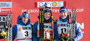 09.12.2017, Davos, Switzerland (SUI):Johannes Hoesflot Klaebo (NOR), Federico Pellegrino (ITA), Alexander Bolshunov (RUS), (l-r), (l-r) - FIS world cup cross-country, individual sprint, Davos (SUI). www.nordicfocus.com. © Modica/NordicFocus. Every downl